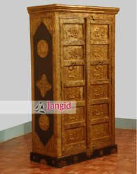 Wooden Islamic Text Carved Brass Work Bedroom Almirah
