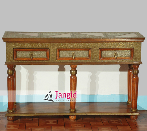 Indian Wooden Brass Fitting Living Room Console Table