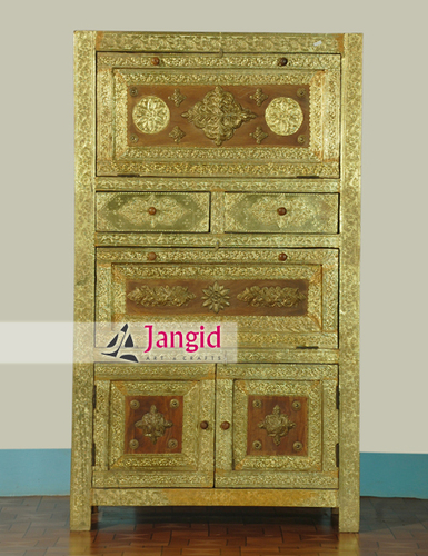 Indian Wooden Brass Fitting Bedroom Furniture