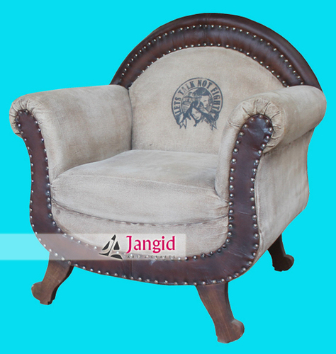 Indian Leather and Canvas Upholstered Living Room Furniture