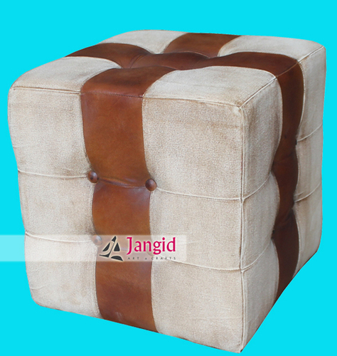 Industrial Leather Upholstered Pouf Stool