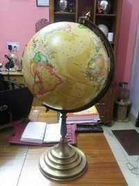 Vintage World Globe With Aluminum Stand