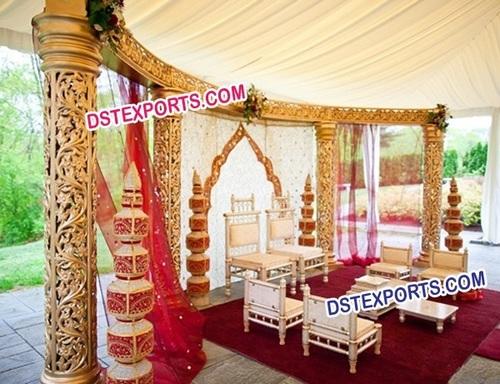 Wedding Golden Open Mandap
