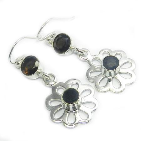 Smoky Quartz & Black Onyx Gemstone Earring