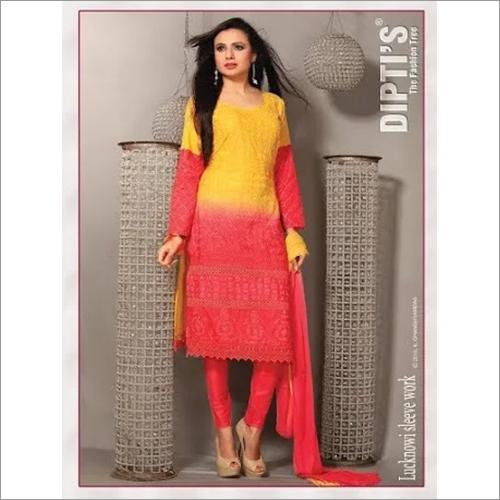 Lucknowi Work Cotton Churidar Suit