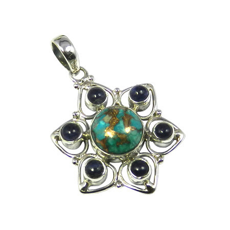 Turquoise & Amethyst Gemstone Pendant