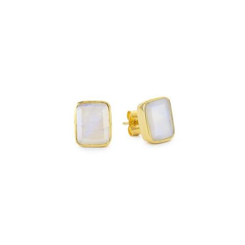 Rainbow Moonstone Gemstone Ear Stud