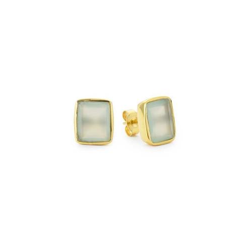 Aqua Chalcedony Gemstone Ear Stud