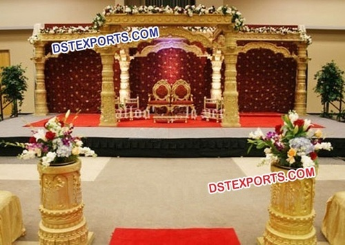 Gujrati Indian Wedding Gold Dev Mandap