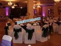 WEDDING CHAIR COVER WITH BLACK SASHAS