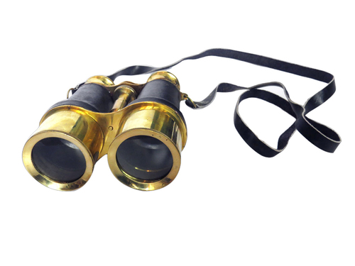 Brass Antique Binoculars w/ Leather Wrap