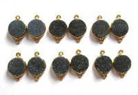 Black Druzy Gemstone Connector