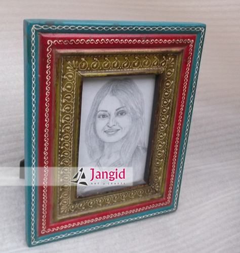 Wooden Carved Painted Photo Frame India