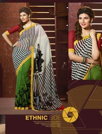 Printed Net Saree