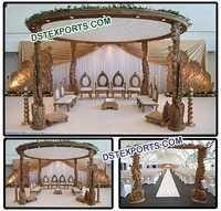 WEDDING PEACOCK WOODEN MANDAP SET