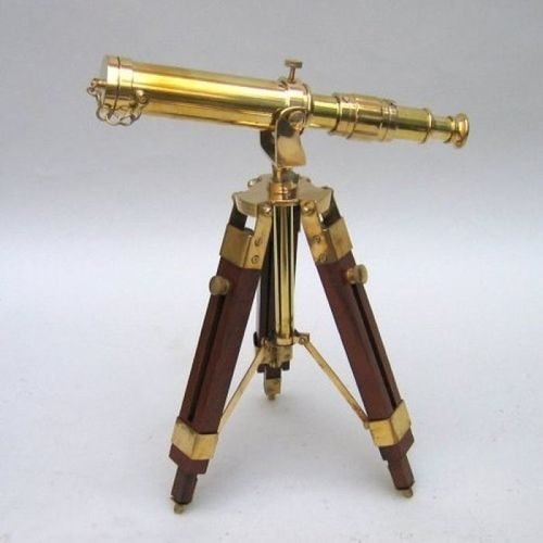 Brass Telescope With Tripod Wooden Stand