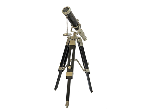 Telescope and Tripod Wooden Stand in Pewter finish