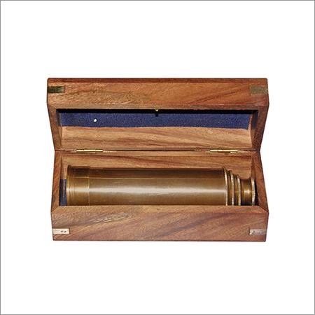 Brass Pullout Telescope w Wood Box Wrap