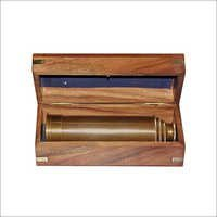 Brass Pullout Telescope w Wood Box Wrap