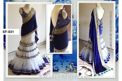 Bollywood Replica White With Blue Lehnaga
