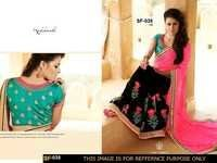 Party Wear Pink With Black Colour Saree