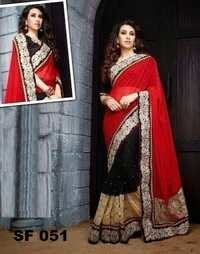 Bollywood  Replica  Red With Black Colour Saree
