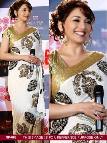 Bollywood  Replica White Color Saree