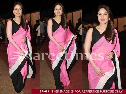 Bollywood  Replica Pink With Black Colour Saree