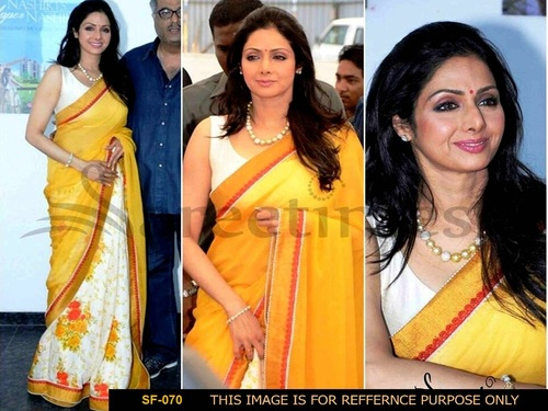 Bollywood Replica Yellow With White Colour Saree