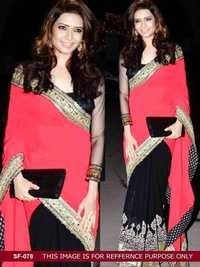 Bollywood  Replica Pink Black Colour Saree