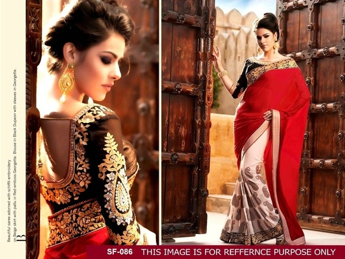 Designer Stylish Party Wear Red With White Colour Saree