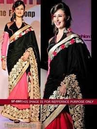 Bollywood  Replica Black With Pink  Saree