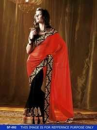 Designer Stylish Red With Black Colour Saree