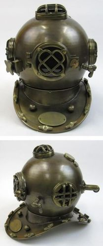 Aluminum Divers Helmet, Mark Five, Antique Finish