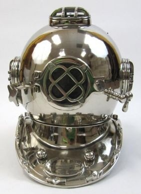 Aluminum Divers Helmet, Mark Five, Chrome Finish