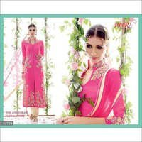 Super Hit Pink Embroidered Straight Suit
