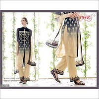 Super Hit Creamy Black Embroidered Straight Suit