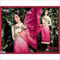 Super Hit Creamy Pink Embroidered Straight Suit