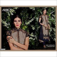 Super Hit Navy Gray Embroidered Straight Suit