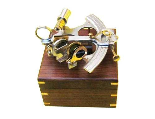 Aluminum Sextant With Wooden Box