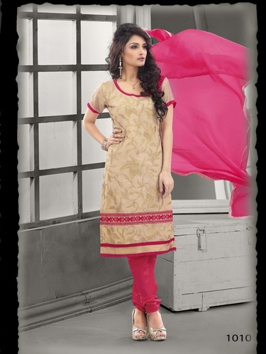 Beautiful Beige cotton embroidery salwar suit