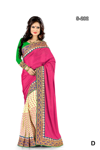 Beige pink printed exclusive saree