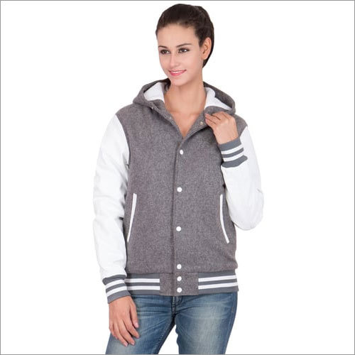 Wool Leather Hoodie Varsity Jackets