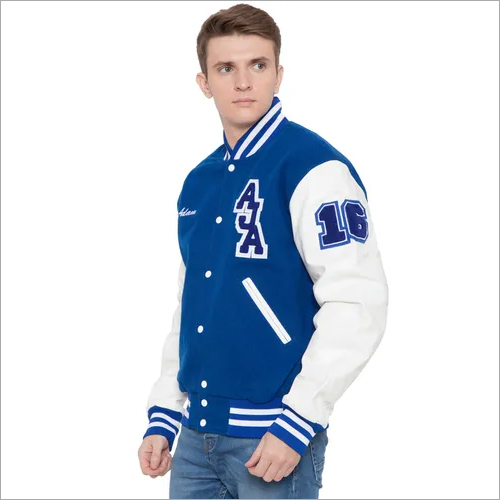 Trendy Knit Collar Varsity Jacket