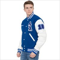 Trendy Knit Collar Varsity Jacket