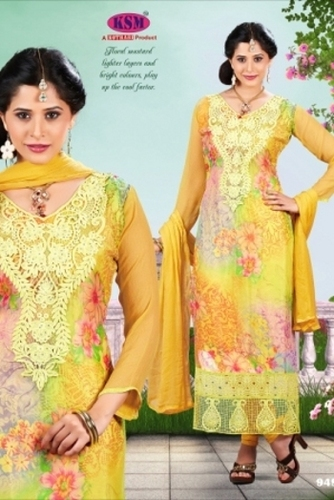 Digital Embroidery yellow Suit