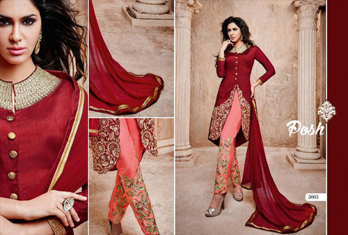 Stylish Red Patiyala salwra kameez in bhagal puri and georgete
