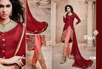 Stylish Red Patiyala salwra kameez in bhagal puri and georgete