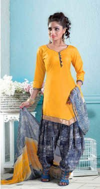 New yellow cotton patiyala salwar kameez