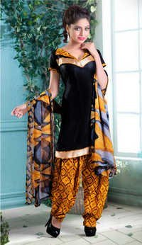 Elegant Black patiyala printed suit